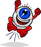 Character Types -Eyeball Ecstatic. Vector cartoon Eyeball character jumping in cheering excitement. Hand drawn artwork in loose, expressive style with NO Stock Image