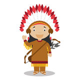 Character from United States dressed in the traditional way of the American Indians. Stock Images