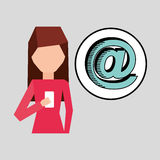 Character using phone mail digital graphic Stock Photos