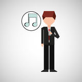 Character using phone music note graphic. Vector illustration eps 10 Stock Photo
