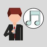 Character using phone music note graphic Royalty Free Stock Photos