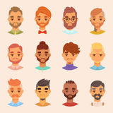 Character various bearded man face avatar fashion hipster male hairstyle head person with mustache vector illustration. Stock Photo
