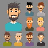 Character of various expressions bearded man face avatar and fashion hipster hairstyle head person with mustache vector Royalty Free Stock Photography