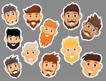 Character of various expressions bearded man face avatar and fashion hipster hairstyle head person with mustache vector Royalty Free Stock Image