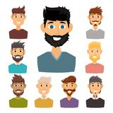 Character of various expressions bearded man face avatar and fashion hipster hairstyle head person with mustache vector Stock Image