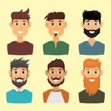 Character of various expressions bearded man face avatar and fashion hipster hairstyle head person with mustache vector Stock Photography