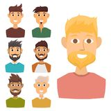 Character of various expressions bearded man face avatar and fashion hipster hairstyle head person with mustache vector Royalty Free Stock Images
