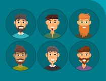 Character of various expressions bearded man face avatar and fashion hipster hairstyle head person with mustache vector Royalty Free Stock Photos