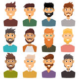 Character of various expressions bearded man face avatar and fashion hipster hairstyle head person with mustache vector Royalty Free Stock Photo