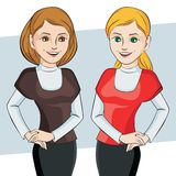 Character. Vector illustration. Beautiful business woman talking character. Vector illustration Stock Photo