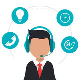 Character wearing headset call center icons Royalty Free Stock Photos