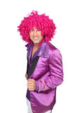 Character wearing a pink wig Royalty Free Stock Photo