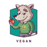 Character wolf holding an apple in his paw. vegetarian character. vector illustration
