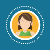 Character woman brunette green tshirt social media. Vector illustration eps 10 Royalty Free Stock Photography