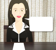 Character woman dressed as a business woman sitting at a table and a blank paper on the table Royalty Free Stock Photos