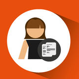 Character woman with paper document file icon. Illustration Royalty Free Stock Images