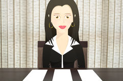 Character woman sitting in a chair in front of the table, gives three options of blank paper to put tex Royalty Free Stock Photo