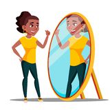 Character Woman Watch Mirror And Admires Vector stock illustration