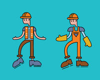 The character of a worker man in overalls, orange uniform. Vector illustration, isolated on white. Royalty Free Stock Image