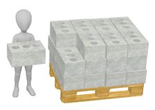 Character working with concrete bricks Stock Photos