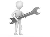 Character with a wrench Royalty Free Stock Photo