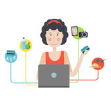 The character of a young girl with a laptop. A woman makes online shopping Royalty Free Stock Image