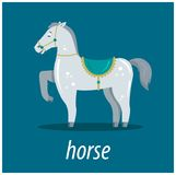Character young horse on a blue background. illustration vector illustration