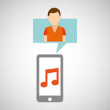 Character young man smartphone music application Stock Photos