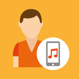 Character young man smartphone music application Stock Image