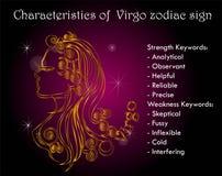 Characterestics zodiac Virgo του σημαδιού Στοκ φωτογραφία με δικαίωμα ελεύθερης χρήσης