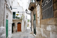 Characteristic alley in Ostuni, Apulia, Italy Stock Photography