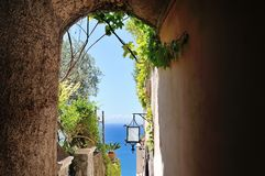 Characteristic alley in Positano town, Amalfi coast, Italy Stock Photos