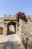 Characteristic architecture of ancient Rhodes castle Royalty Free Stock Photography