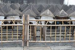 Decorative bamboo baskets for the fishery in water town Wuzhen, China Stock Photo