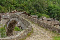 A   characteristic  bridge  of a piedmontese alpine village. A romanesque bridge made of donkey back of  of the 17th century, at the entrance to the village of Stock Photo