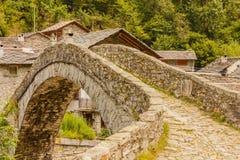 A   characteristic  bridge  of a piedmontese alpine village Stock Photo