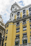 Characteristic buildings on the street Gran Via in Madrid, capit Royalty Free Stock Image