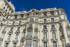 Characteristic buildings on the street Gran Via in Madrid, capit Stock Photos