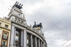 Characteristic buildings on the street Gran Via in Madrid, capit Royalty Free Stock Photography