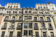 Characteristic buildings on the street Gran Via in Madrid, capit Royalty Free Stock Photos