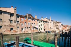 Characteristic canal in Chioggia, lagoon of Venice. Characteristic canal in Chioggia, lagoon of Venice, Italy Stock Photos
