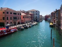Characteristic canal in Chioggia. stock images