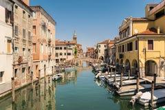 Characteristic canal in Chioggia, lagoon of Venice. Stock Image