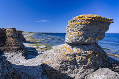 Characteristic cliffs on Oland island Stock Photos