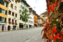Characteristic colorful buildings in Bremgarten, Switzerland Stock Photography