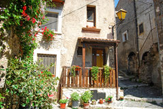 A characteristic corner of the village of Assergi in the Abruzzi Royalty Free Stock Image