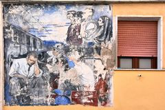 Diamante, village of the murales in Calabria stock photos