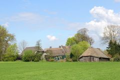 Characteristic Dutch farm and sheepfold,Eempolder Stock Images