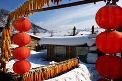 Characteristic farmhouse snowscape. Chinese characteristic farmhouse snowscape in Jilin Stock Photos