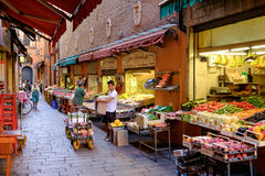 Characteristic food shops in the historic center of Bologna Stock Photo